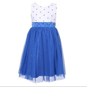 Blue & White Formal dress Size 3/4 pearl accents
